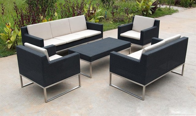 Olivia Contemporary Patio Sofa Set Tropical Outdoor Lounge Sets albuque