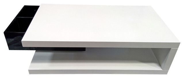 Modern black and white rectangular coffee table with swivel Drawer Hanno contemporary-coffee-tables