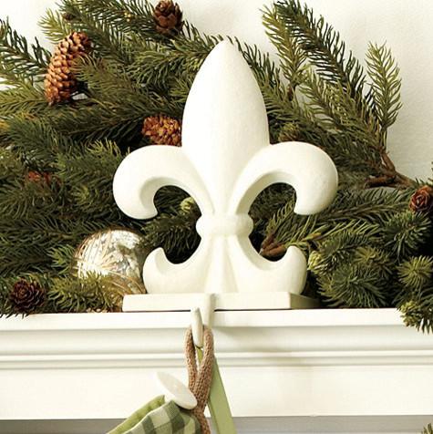 Fleur De Lis Stocking Holder Traditional Holiday Decorations
