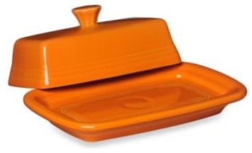 Fiesta Extra-Large Covered Butter Dish in Tangerine contemporary-serveware
