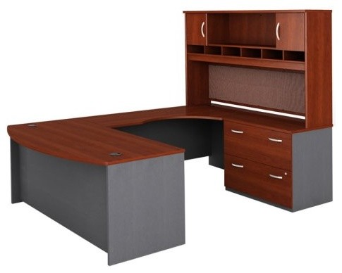 Bush Series C U-Shaped Desk with 2 Door Hutch and Lateral File - BHI451 - Contemporary - Desks ...