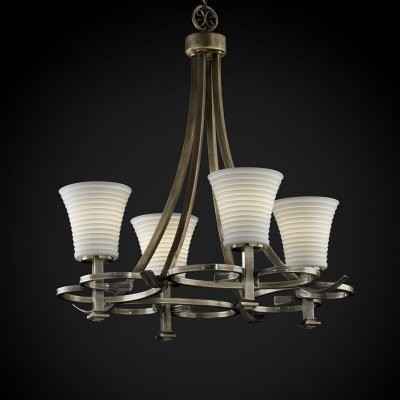 Justice Design Group Limoges POR-8560-20-SAWT-ABRS Arcadia 4-Uplight Chandelier modern-chandeliers