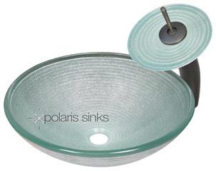Polaris p636 Foil Undertone Glass Vessel Bathroom Sink with Matching Glass Water modern-bathroom-vanities-and-sink-consoles