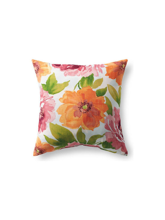 """Grandin Road - Blossom Outdoor Pillow - 20"""" x 20"""" - Outdoor pillow designed to live beautifully in the elements. Each is covered in all-weather, water-repellant, chlorine- and stain-resistant upholstery, so colors stay vibrant all season long. Stuffed with quick-drying, 100% polyester fill. Printed fabrics are woven from spun polyester. Coordinates perfectly with our outdoor replacement cushion program. Freshen up your outdoor furniture in an instant with our all-weather designer outdoor pillow. Each is upholstered in highly durable, quick-drying, all-weather fabric that repels water, resists chlorine, soil and stains. Like our outdoor cushions, each one is made in America, so you can pick your favorite patterns and pile them on with pride.  .  .  .  .  ."""