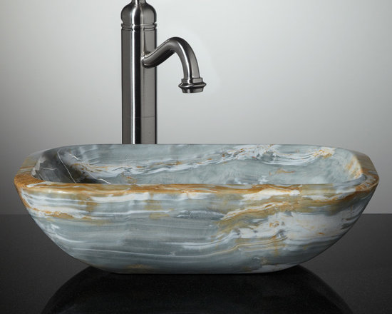 Color - Made of stunning Blue Onyx, the Eris Vessel Sink is just the jewel to set off an outstanding master bath. Waves of white and ginger characterize this natural stone vessel sink, as does an unusual rounded rectangular shape.--Signature Hardware