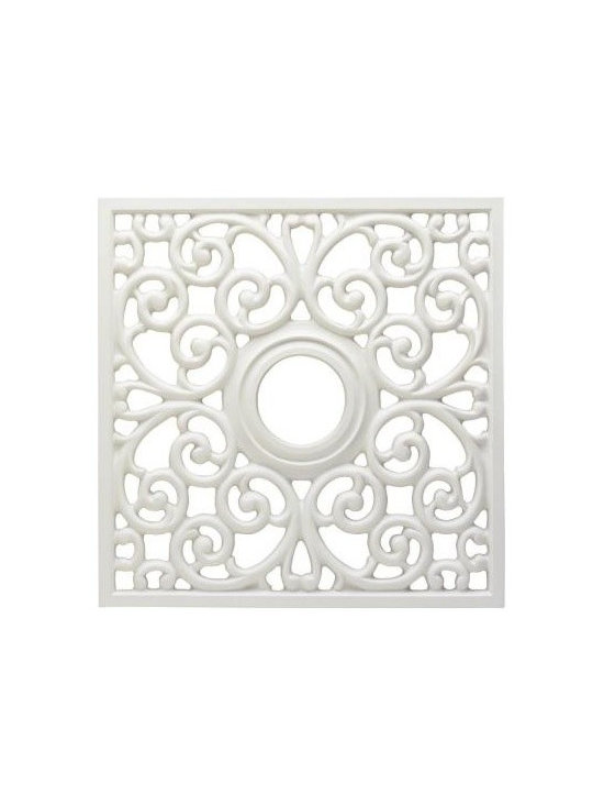 Westinghouse 18 in. White Finish Square Parisian Scroll Ceiling Medallion-DISCON -