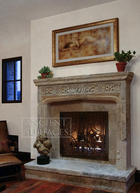 Antique Stone Fireplaces Mediterranean Indoor