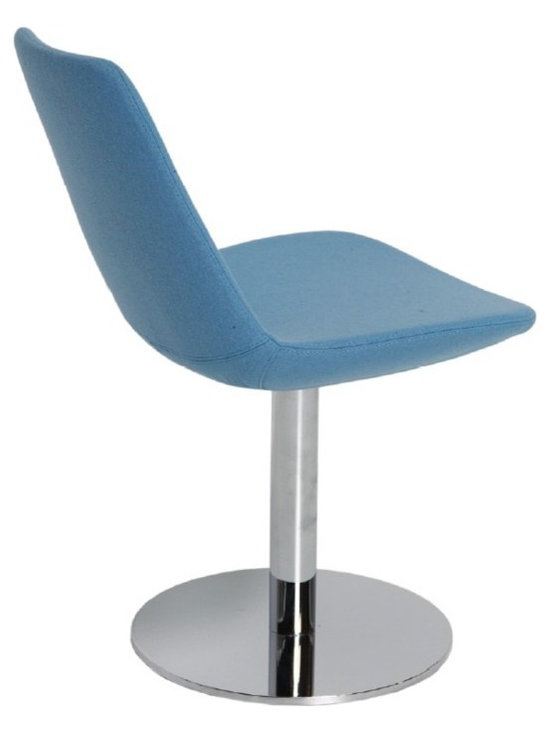 """Eiffel Round Swivel Chair by sohoConcept - Eiffel Round is a unique dining chair with a comfortable upholstered seat and backrest on a chromed steel tube column and solid chromed steel round base. The seat has a steel structure with """"S"""" shape springs for extra flexibility and strength. This steel frame molded by injecting polyurethane foam. Eiffel seat is upholstered with a removable velcro enclosed leather, PPM or wool fabric slip cover. The chair is suitable for both residential and commercial use."""