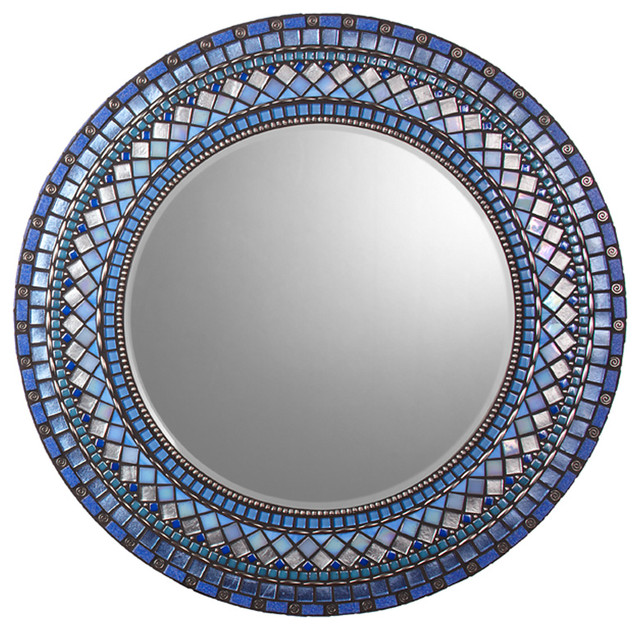 Round Mosaic Mirror - Blue & Silver (Handmade) traditional mirrors