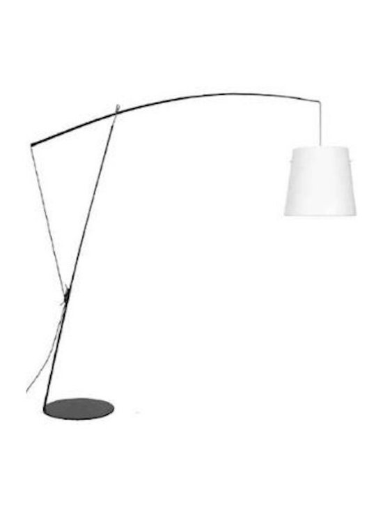 Tango Lighting - Tango Robin Floor Lamp, Black, White Cotton - Robin is a metallic flloor lamp with fibre adjustable arm design by Gabriel Teixido in 2010 for Carpyen. Robin is a metallic floor lamp in black or white structure with fibre adjustable arm. Shade with switch on the same lampholder.