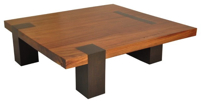 Square Tamburil Coffee Table Walnut Legs Contemporary