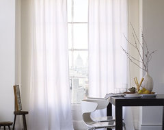 Cotton Canvas Window Panel, White contemporary curtains