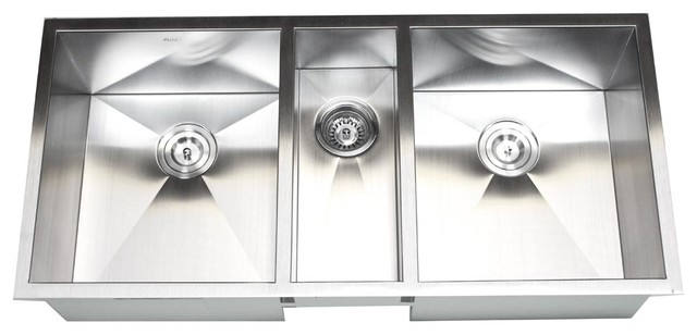42 Inch Stainless Steel Undermount Zero Radius Triple Bowl