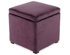 Detour Storage Ottoman, Purple contemporary ottomans and cubes