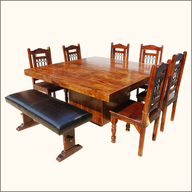 Solid Wood Square Pedestal Dining Table Chairs Set W Bench