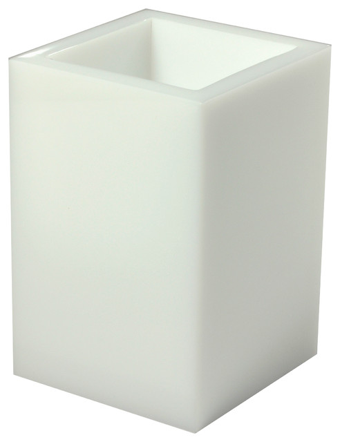 Ice Brush Holder, White contemporary-bathroom-accessories