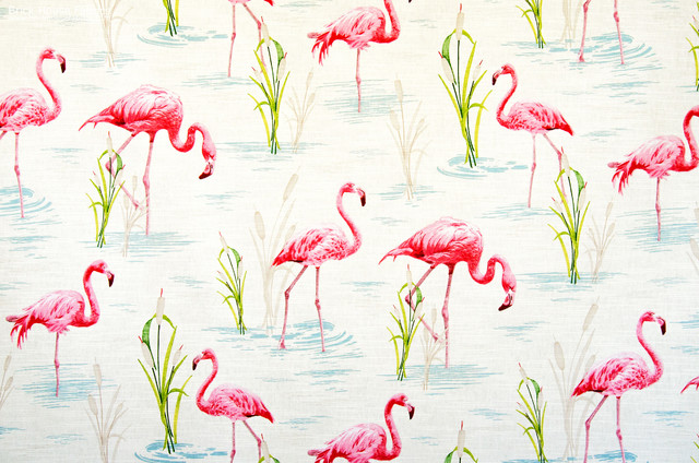 Flamingo fabric retro tropical pink toile - Tropical - Fabric - portland maine - by Brick House ...