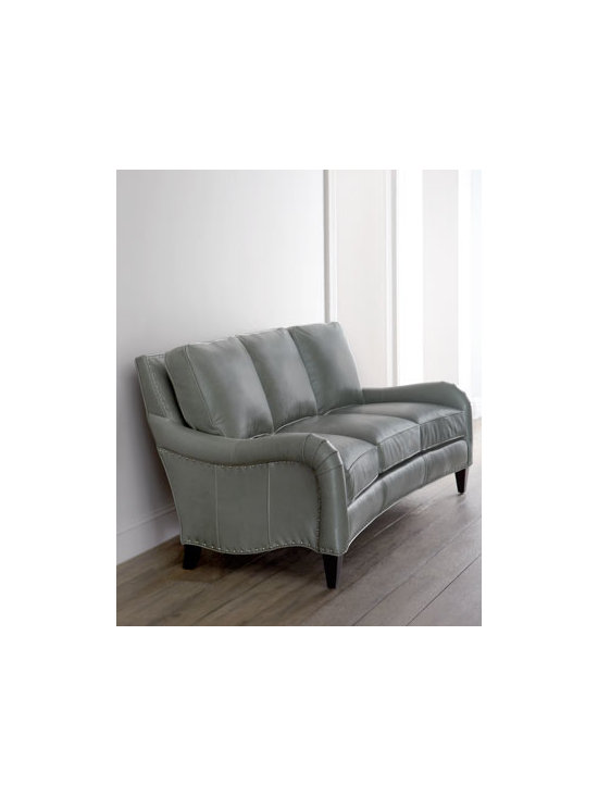 Horchow - Osage Leather Sofa - Beautiful, upscale sofa offers sleek, architectural styling featuring lots of movement with a concave front leading up to gracefully contoured arms and recessed side panels. Nailhead trim highlights the elegant lines of its silhouette while tapered legs...