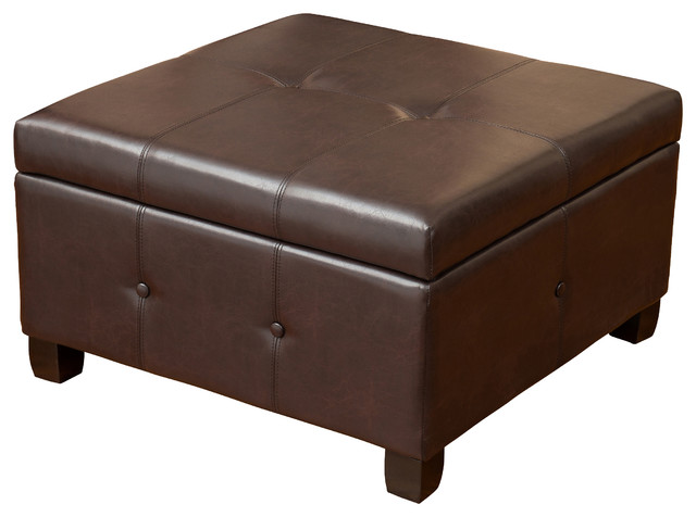 Codi Storage Ottoman Coffee Table Brown Leather Transitional
