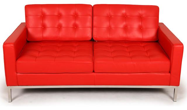 Kardiel Florence Knoll Style Loveseat, Red Aniline Leather modern-loveseats