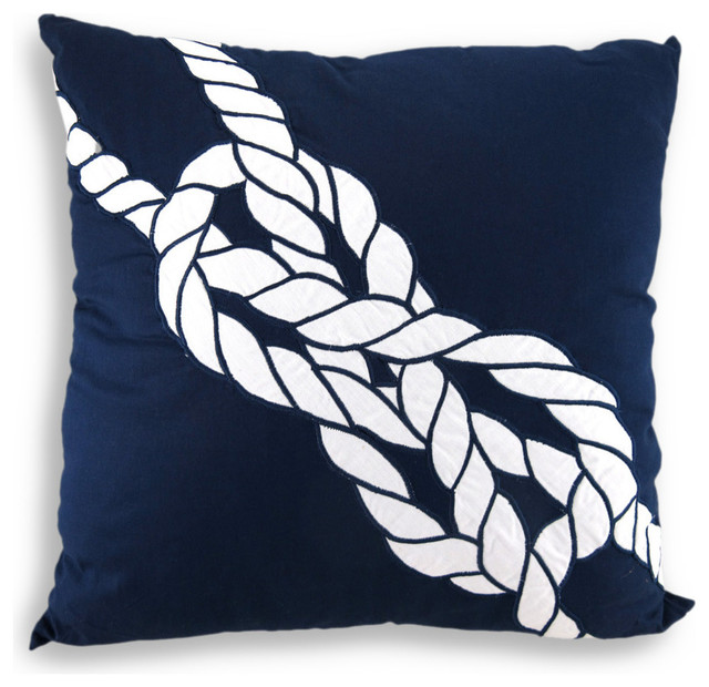 Navy and White Sailors Knot Nautical Style Throw Pillow 18 in. - Beach Style - Decorative ...