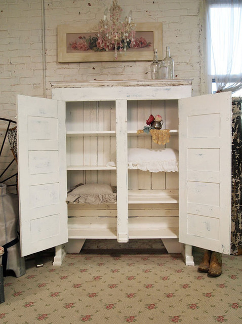 Painted Cottage Shabby White Farmhouse Cupboard by The Painted Cottage traditional dressers chests and bedroom armoires