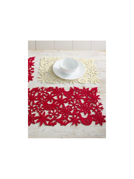 """Garnet Hill - Felt Snowflake Table Runner and Place Mats - Create bright table settings for holiday gatherings and celebrations with this runner and set of four mats. Made of textural wool/poly felt, each piece is a whimsical arrangement of connected laser-cut motifs: doves, snowflakes, and poinsettias. The cutout trend is a wonderful way to balance timeless elegance with contemporary fun. Imported.   Table Runner: 60"""" L x 13"""" W Place Mats: 13"""" L x 19"""" W"""