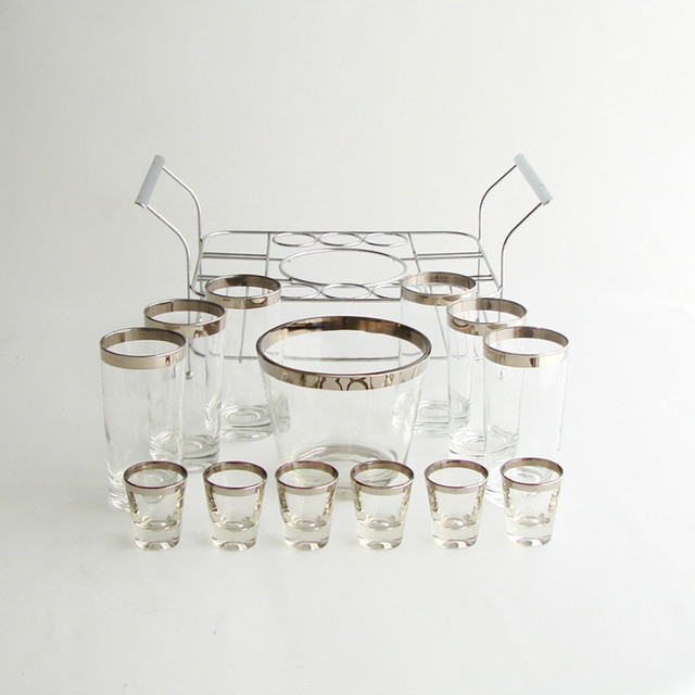 Midcentury Silver Rim Barware Set, Cheeky Chic Vintage modern-cocktail-shakers-and-bar-tool-sets