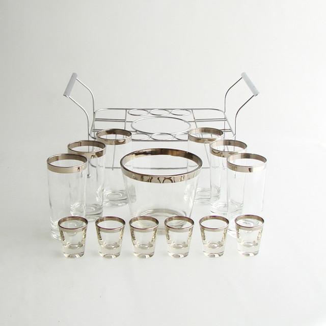 Midcentury Silver Rim Barware Set, Cheeky Chic Vintage modern-wine-and-bar-tools