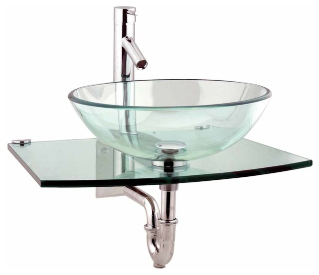 Clear Glass Sink : Console Sinks Clear Glass/Stainless Halo Mini Console Sink 10914 ...