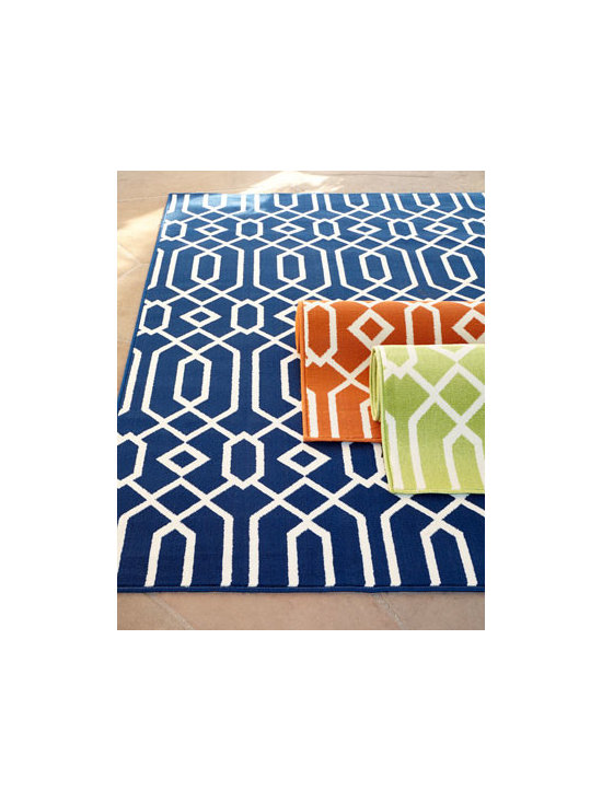 "Horchow - ""Geometric Twist"" Indoor/Outdoor Rug - Utilizing runway fashion and a bold, exciting color palette, this rug lets you create the ultimate indoor or outdoor oasis. Machine tufted of polypropylene. Select color when ordering. Outdoor safe. Sizes are approximate. Imported. See our Rug..."