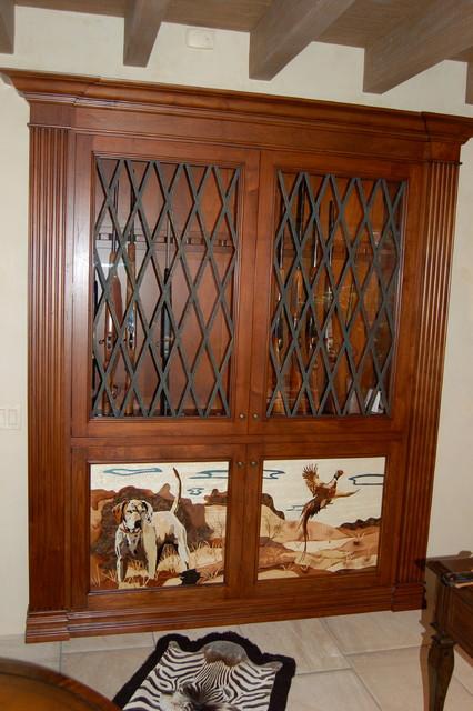 Custom Alder Gun Cabinet with Marquetry veneer panels. - Traditional - los angeles - by Westend ...