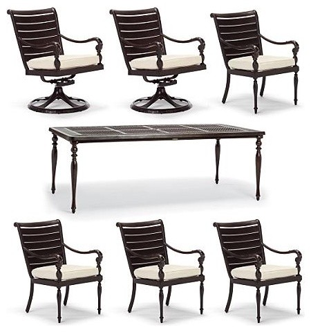 British Colonial 7-pc. Rectangular Dining Set - Frontgate, Patio ...