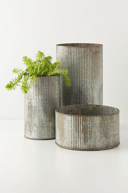 Ridged Zinc Pot contemporary-indoor-pots-and-planters