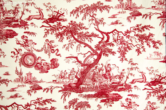 red toile wallpaper bathroom