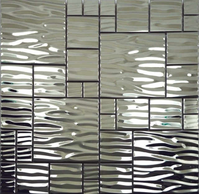 Metal Mosaic Tiles Stainless Steel Mosaic Wall Tile Backsplash SMMT013 modern-mosaic-tile
