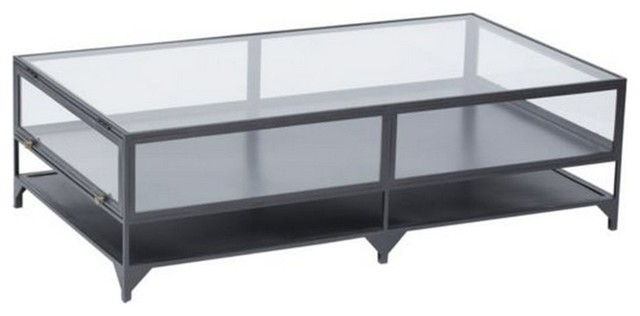 Shadow box metal and glass coffee table eclectic coffee tables new york by zin home Glass box coffee table