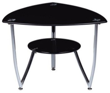 Global Furniture Triangle Metal End Table with Black Glass Top modern-bar-tables
