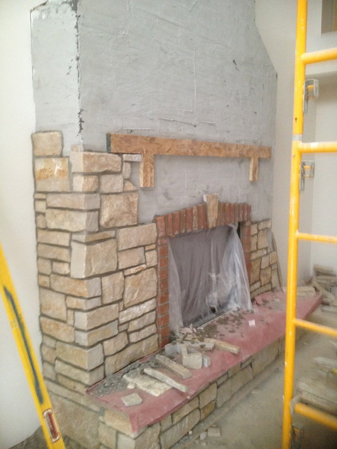 Indoor Fireplace from Thin Stone Veneer