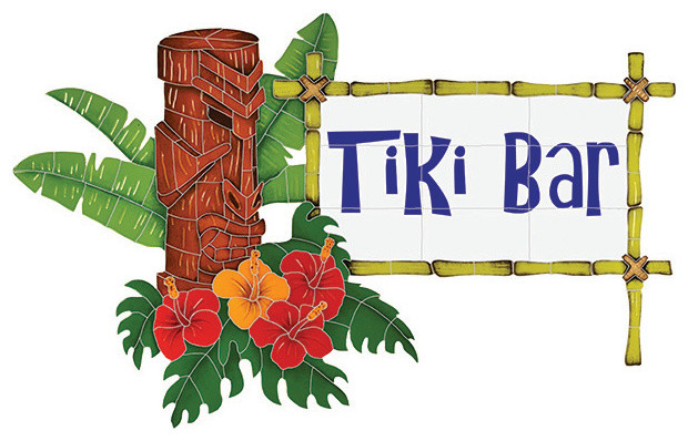 Tiki Sign Pool Accents Green Pool Glossy Ceramic tropical-tile