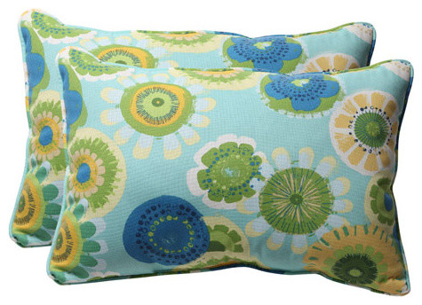 Decorative Blue/Green Floral Toss Pillow Rectangle, Set of Two eclectic-bed-pillows