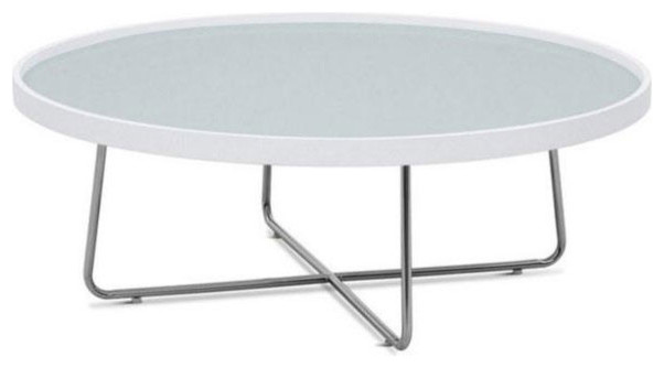 Contemporary White Round Glass Top Coffee Table Mima Modern Coffee Tables Other Metro By
