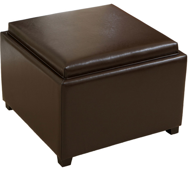 Jefferson Tray Top Storage Ottoman Coffee Table Contemporary Footstools And Ottomans By
