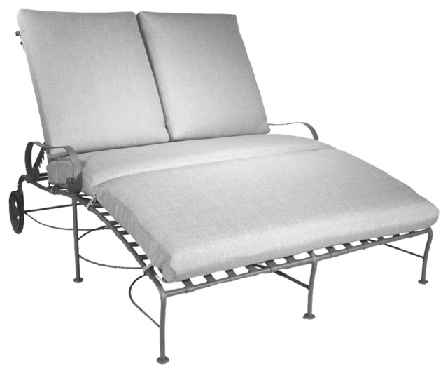 Classico double chaise lounge eclectic outdoor chaise for Black wrought iron chaise lounge