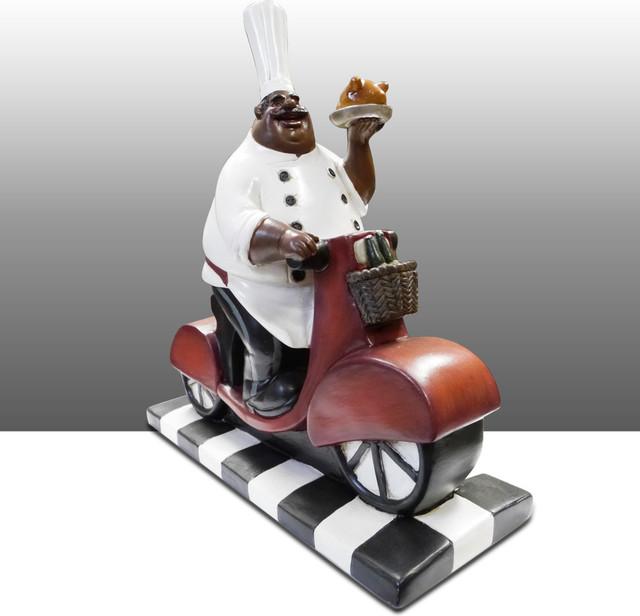 Black Chef Kitchen Statue On Bike Table Art Decor