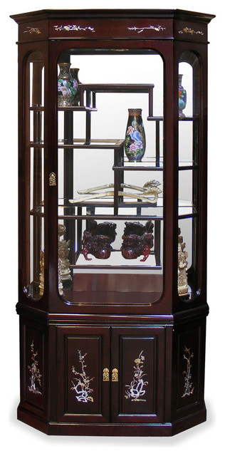 Rosewood Moon Shape Pearl Inlaid Motif Curio Cabinet - Asian - Furniture - by China Furniture ...