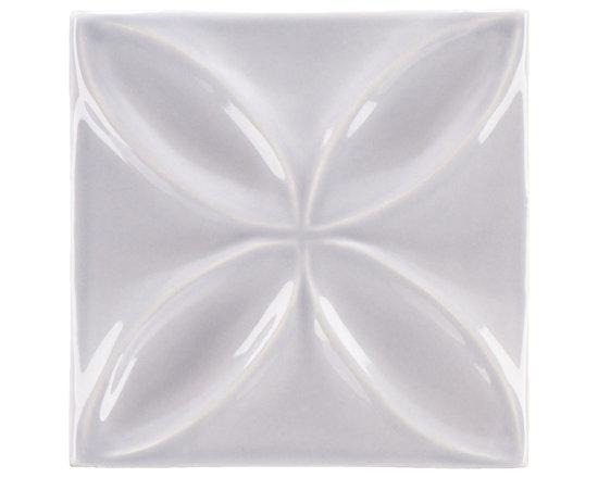 """Ceramic - ANN SACKS Circa 4"""" x 4"""" quatrefoil ceramic decorative tile in hydrangea"""