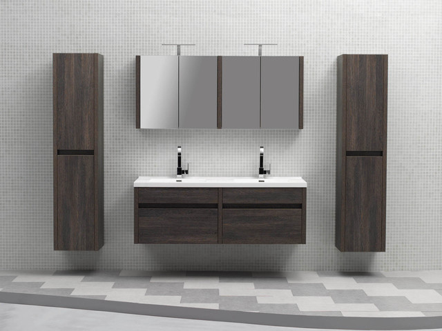 brilliant nero 1340 black bathroom modern wall hung single vanity cabinet - Wall Mounted Bathroom Vanity