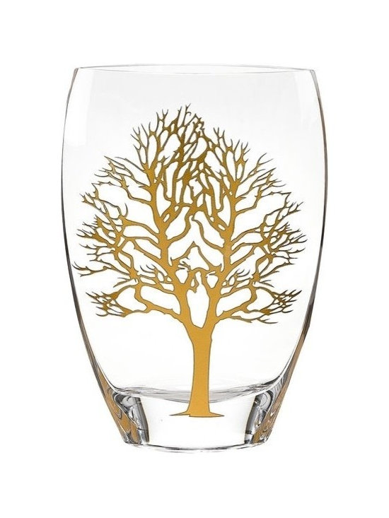 Imported - Tree of Life Design 12 Inch Vase - Tree of life design vase has genuine Gold Leaf inlayed in the pattern.