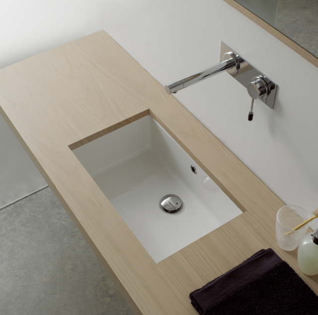 Rectangular White Ceramic Undermount Sink contemporary-bathroom-sinks